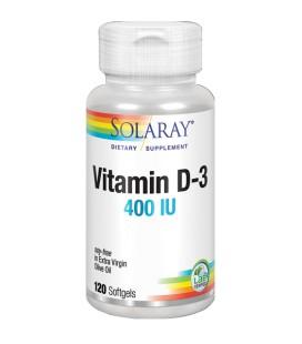 Vitamina D-3 400IU Solaray 120 capsulas